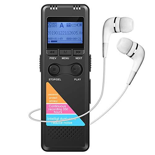 Digitales Diktiergerät mit MP3 Player Lautsprecher 8GB Lange Aufnahmezeit Metallgehäuse Schwarz, mit Zeitstempel, USB Wiederaufladbar, Passwort geschützt, A-B Wiederholung, Audio Segmentierung, Timer