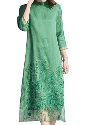 Frauen 2017 Frühlingsmode Damen Rundhals Lose Kleid Bestickten Kleid Green