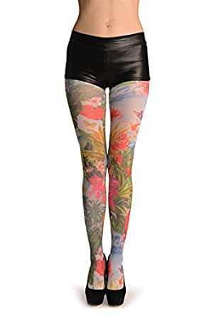 Tropical Island On White - Blanc Collants Taille Unique (34-38)
