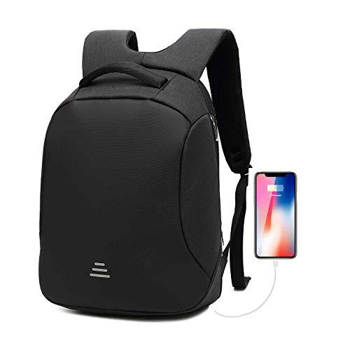 Anti-Diebstahl-Sicherheits-Laptop-Rucksack 15,6 Zoll wasserdicht mit USB-Aufladung Reisetasche für Business-Studenten Mann Frau, Schwarz