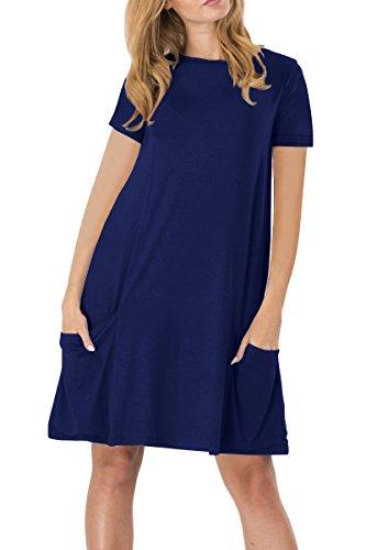 YMING Mädchen Longshirt T-Shirt Kleid Casual Tops mit Taschen Kurzarm Loose Minikleid,Dunkelblau,XS/DE 34