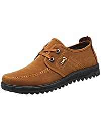 Logobeing Hombre Zapatos Antideslizantes Transpirables Zapatos Casuales Zapatos con Cordones Zapatos Planos con Punta Redonda Mocasines