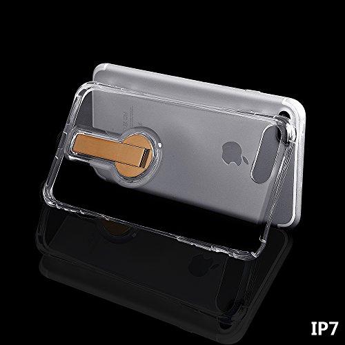 """xhorizon FM8 Elegant Transparent TPU Weich 360 Grad Rotating Kickstand Case Cover für iPhone 7 [4.7""""] mit einem 9H temperiert Glasfilm (Rose-gold) Golden"""