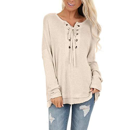 Kolila Damen Verstellbare Schnüroberteile Lose V-Ausschnitt Langarmshirts T-Shirt T Shirt Bluse Pullover Sweatshirt Tunika