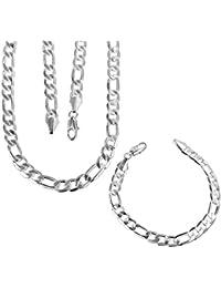 b13f4054f6d3 Onefeart Plateado Conjunto de Joyas Colgante Collar Bracelet 2Pc Set Para  Hombre Chico Estilo Clásico