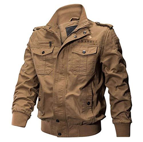 ZJEXJJ Herren Multi Pocket Jacke Baumwolljacke Atmungsaktive Overalls Angeln Fotografie Windbr (Farbe : Braun, größe : L)