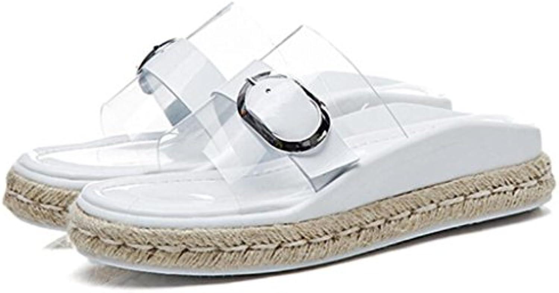 GAOLIXIA Frauen Open Toe Transparente Sandalen Sommer Metall Schnalle Hausschuhe Shiny Stroh Freizeitschuhe Outdoorö