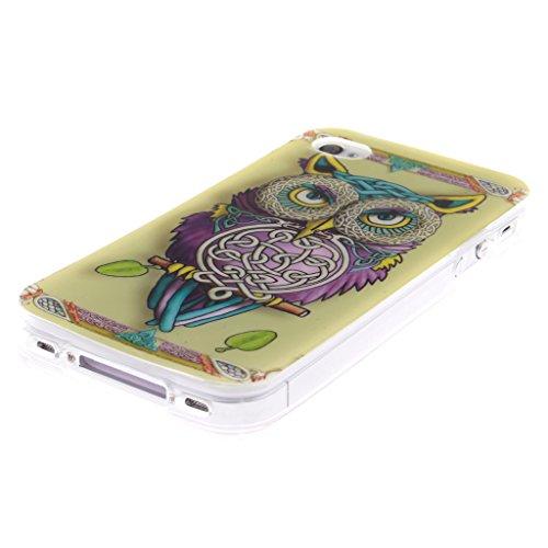Pour iphone 4 Coque / iphone 4S Housse, MYTHOLLOGY - Pourmula Doux Flexible, Premium Silicone TPU Arrière Etui Case Coloré Owl / Hibou