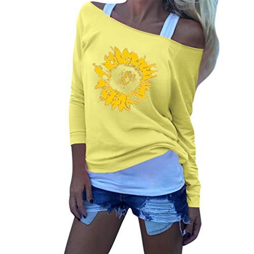 Andouy Damen Mode Eine Schulter Lange Ärmel Gedruckt Lose Herbst Pullover Blusen Tops(2XL(42).Gelb)