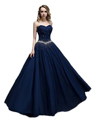 KAIDUN Damen lange Tuell Abendkleid Ballkleid Party kleider Navy Blue 36
