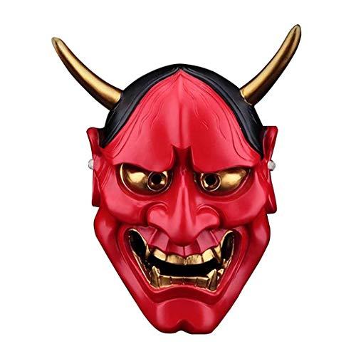Hannya Maske Halloween Horror Teufel Cosplay Maske Buddhismus Prajna Ghost Traditionelles Thema Party Harz Japanische Krieger Masken,Red ()