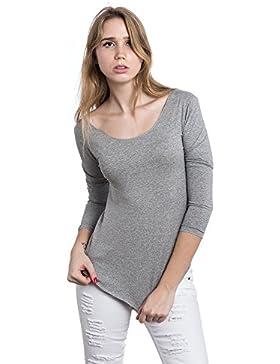 [Sponsorizzato]Abbino Dina 26232 Magliette Tops Ragazze Donne - Made in Italy - 8 Colori - Estate Autunno Inverno Classiche Semplici...