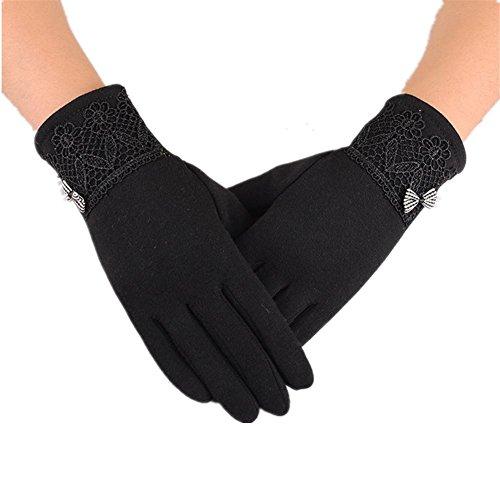 JQAM Guanti donna autunno inverno tempo libero cotone Touchscreen Guida all'aperto ciclismo Coldproof Sunproof Plus (Scopo Esterno Raso)