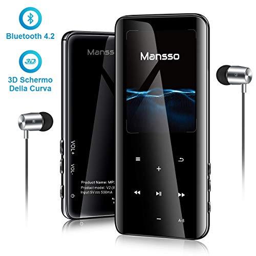 Lecteur MP3 MANSSO Bluetooth 4.2, Boutons Tactile avec Écran de TFT 2,4 Pouces, Lecteur Audio numérique Portable sans Perte de 8 Go Radio FM E-Book enregistreur Vocal