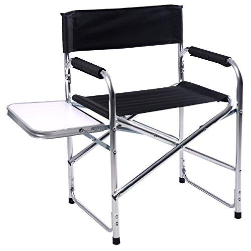 Regiestuhl Campingstuhl Gartenstuhl Faltstuhl schwarzer faltbarer aus Aluminium Stuhl Klappstuhl Strandstuhl Angelstuhl mit einer Seitenablage