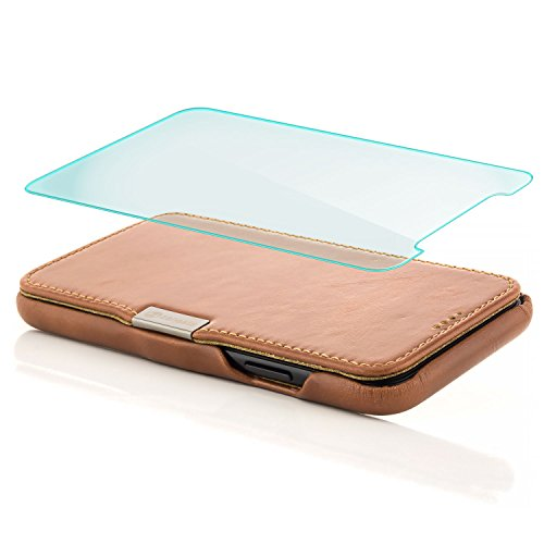 zanasta Echt Ledertasche iPhone X Lederhülle + Panzerglas Echt Leder Tasche Hülle Premium Schutzhülle Flip Case mit Klappverschluss Glattleder Oberfläche | Vintage Braun Khaki