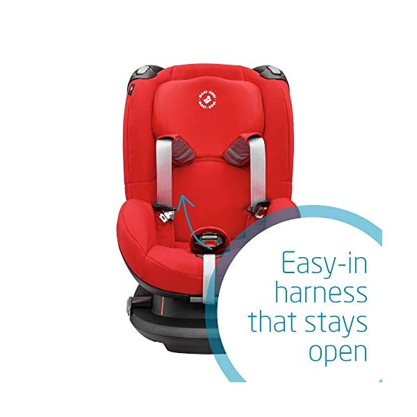 Maxi-Cosi Tobi Toddler Car Seat Group 1, Forward-Facing Reclining Car Seat, 9 Months-4 Years, 9-18 kg, Nomad Red Maxi-Cosi Forward facing group 1 car seat suitable for children from 9 to 18 kg (approx. 9 months to 4 years) Install with a 3-point car seat belt, with clear and intuitive seat belt routing High seating position allows toddler to watch outside the window 5