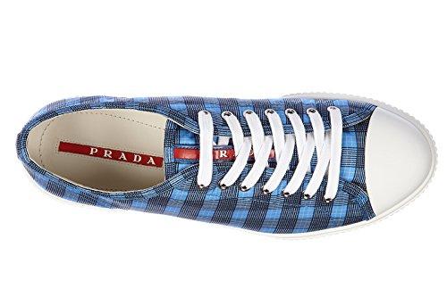 Prada chaussures baskets sneakers homme en Nylon squared blu Blu