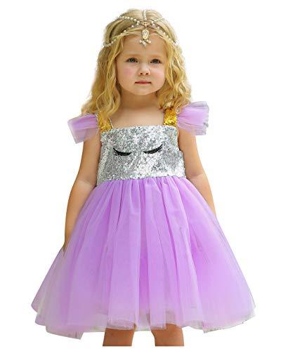 Le SSara Baby Mädchen Einhorn Pailletten Kleid für Kinder Geburtstag Party Einhorn Kostüme Outfit mit Kopfbedeckungen (80, - Urlaub Honig Weihnachten Kostüm