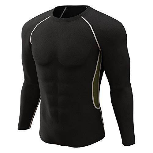 MuRore Herren Thermo-Unterwäsche-Set Ultraweiche, Lange Unterhose, Fleecefutter, Skiunterwäsche, Winter, warm - Schwarz - Small