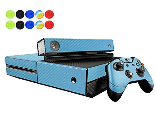 Skin for XBOX ONE, Morbuy Vinilo Consola Design Foils Pegatina Sticker And 2 XBOX ONE Controlador & Kinect Skins Set + 10pc Silicona Thumb Grips (Azul Fibra de carbon)