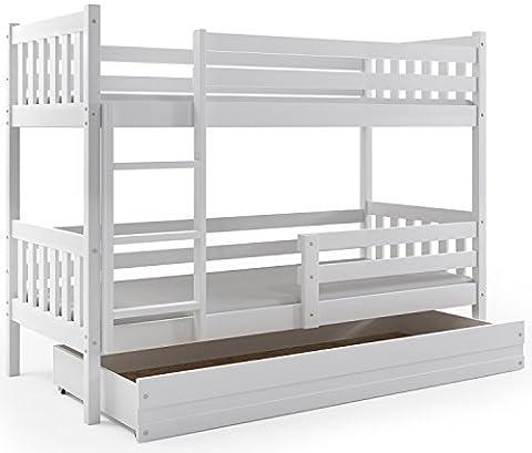 Lits superposé CARINO 190x90 avec sommiers et tiroir BLANC ou GRIS (blanc)