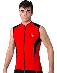 Deporteshera - Ropa ciclismo, Maillot Sin Mangas, Camiseta Ciclismo, Color Rojo/Negro