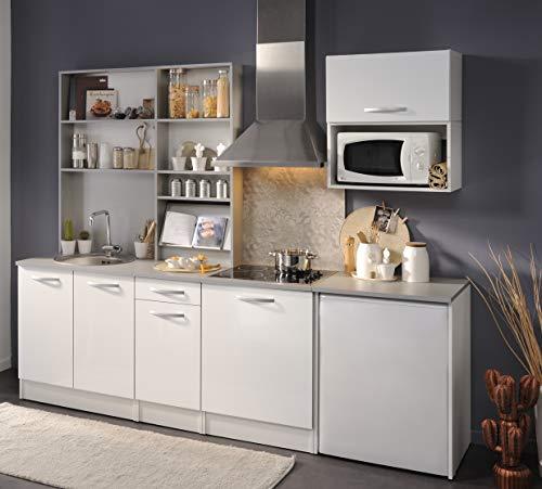 Wohnorama Küchenblock ohne E-Geräte u Spüle Spoon Natura 1 von Parisot Hochglanz Weiss by