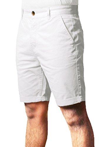 Uomo Threadbare Estate Casuale progettista 100% Cotone Di base Chino Ginocchio lunghezza Pantaloncini SMW015 bianca