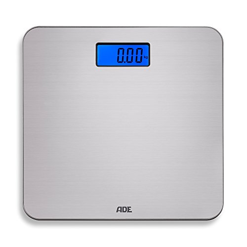 ADE Digitale Personenwaage BE 1504 Chloe. Elektronische Badezimmerwaage mit Wiegefläche aus gebürstetem Edelstahl. Zur genauen Gewichtsbestimmung bis 150 kg. Inklusive Batterie. Silber