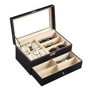 Autoark Leder Brillen Aufbewahrung und Sonnenbrillen Ausstellungsschublade verschließbar Etui Organizer, 6 Slots + 9 Compartments