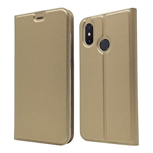 LAGUI Funda Adecuado para Xiaomi Mi 8, Ultrafina Carcasa Minimalista Tipo Libro con Tapa Imantada y Ranura para Tarjeta y Soporte Horizontal, Oro