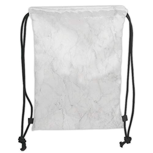 Granit Satin (Juzijiang Drawstring Sack Backpacks Bags,Marble,Abstract Granite Cracks Stone Formation Pattern Mine Veins Ceramic Style Artsy Image,Dust Grey Soft Satin Closur,5 Liter Capacity,Adjustable.)