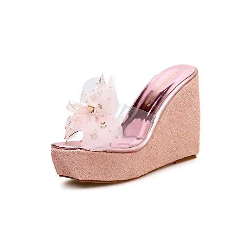 XLY Damen Glitter Wedges High Heels Plateau Slides Sandalen Open Toe Slip auf klaren Riemchensandalen Schuhe,Pink,36 -