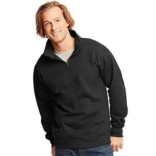 Menâ€s Premium Black Quarter Jacket Zip Lightweight Hanes Nano dHOxwqdg