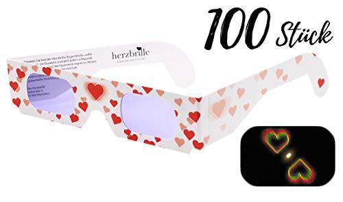 Die Herzbrille Liebesrausch (100 Stück) - Herzchen sehen in jedem Licht: Ideal für Hochzeiten & Partys