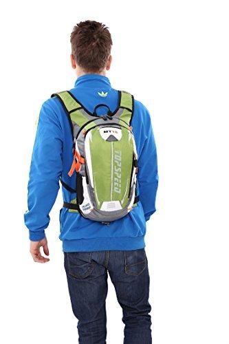 West Biking Zaino per ciclismo, corsa, trekking, campeggio, più durevole luce impermeabile borsa sportiva con grande tasche per multiuso ecc., Uomo Bambino donna, Black Green
