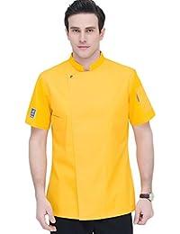 Dooxii Unisex Donna Uomo Mode Estate Manica Corta Giacca da Chef  Professionale Ristorante Occidentale Cucina Mensa Hotel Uniformi Divise… 2438701c1c43