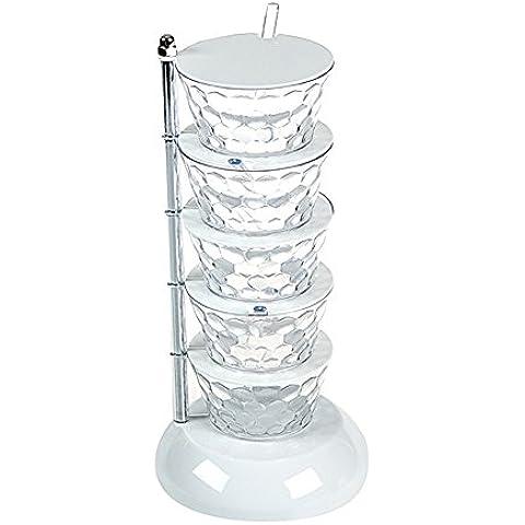 Creativo 5-Tier ruotabile verticale condimento di sicurezza, casa giornaliero di vetro Bombola Spice Jar Condimento bagagli Contenitore con vassoio Sale Zucchero Cruet