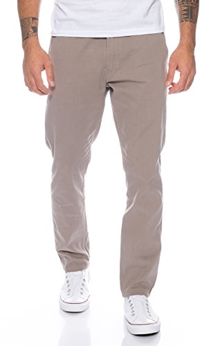 Rock Creek Herren Designer Chino Hose Regular Slim Chinohose RC-390 Hellgrau W40 L32