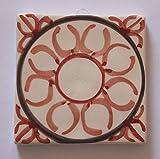 Carrelage géométrique - Carreau de céramique décoré à la main, dimensions cm 10x10x0,8 cm Fabriqué en Toscane Italie, certifié Lucca.