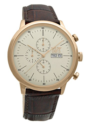 Davis 1952 - Mens Sport Watch Classic Retro Rose Gold Case Chronograph Waterresist 50M Day Date Brown Leather Strap