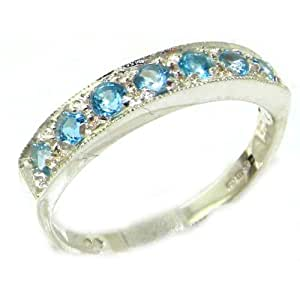Solid English 9ct White Gold Natural Blue Topaz Band Ring - Size K - Finger Sizes K to Z Available