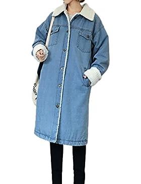 Mujer Chaqueta De Mezclilla Manga Larga Casual Espesar Cálido Chaquetas Denim Jacket
