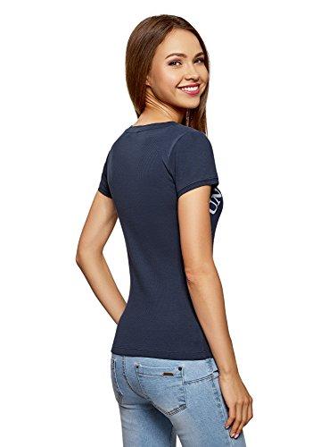 oodji Ultra Damen T-Shirt Basic Slim Fit mit Schriftzug Blau (7910P)