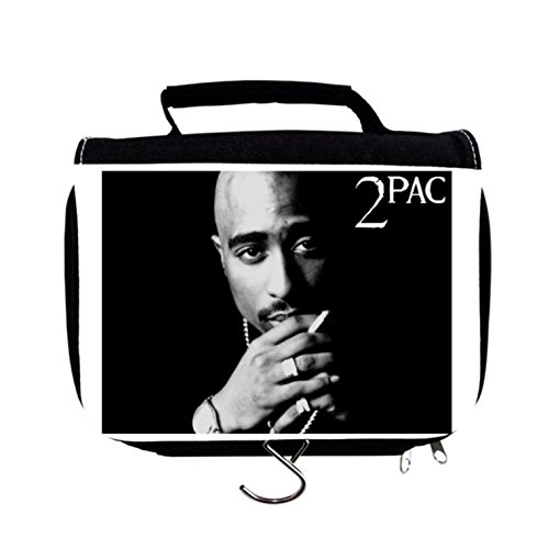 Original Classic 2Pac Tupac Shakur Deathrow Records Solid Black Background  Hip Hop Rap Professional Multi Use Beauty Case Make Up Case Pill Medicine