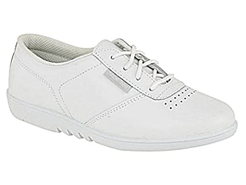 New Ladies Shoe Tree Real Leather Casual Lace Up Comfort Wider Fit Trainer Plimsoll Pump Shoes 6 UK White