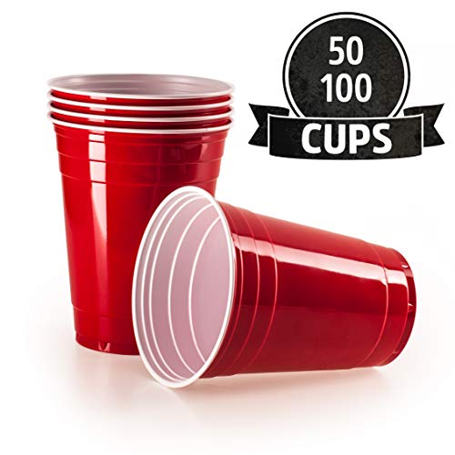 Vivaloo 50 Plastikbecher Trinkbecher - Bierpongset Red Cups, Rote Beer Pong Becher, Partybecher 473ml 16oz