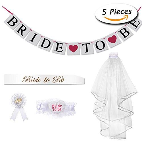 Paxcoo Bride to Be Veil Sash Bannière Jarette Rosette Badge pour Hen Night Party Décorations de mariage 0653472904187