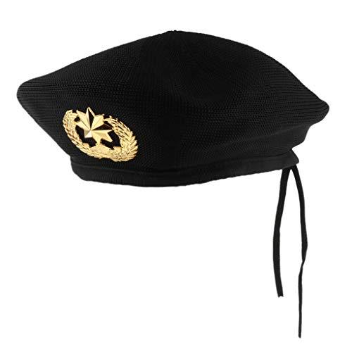 Fenteer Matrosen-Kostüm Matrosenmütze Seemannhut Strickmütze Baskenmütze KMütze Kopfbedeckung - Schwarz, 54cm